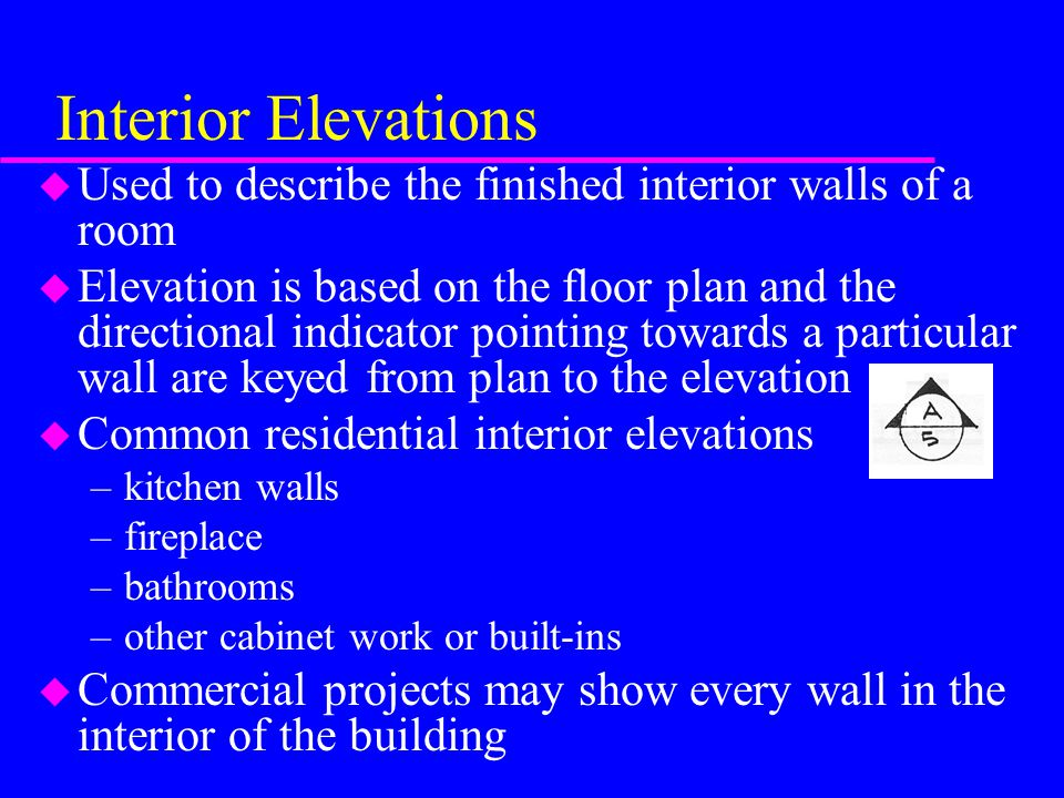 Interior Elevations u Common scales, selection depends on amount of detail for the elevation –1/4 = 1'-0 –3/8 = 1'-0 –1/2 = 1'-0 u Templates are commonly stamped for various shapes at these scales, available from plumbing vendors