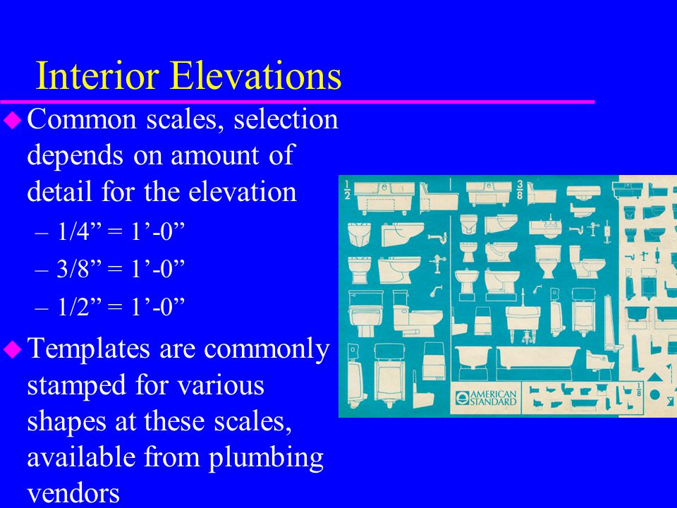 Interior Elevations u Interior Elevation details usually include –basic structure - cabinets, appliances, window/doors, etc.