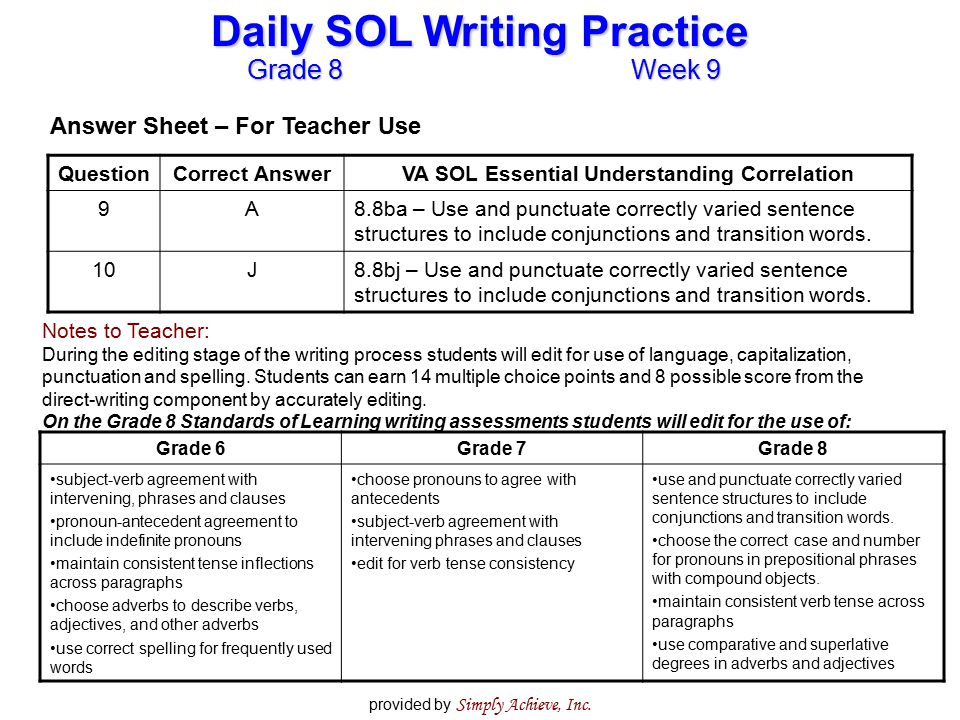 Grade 8Week 9 Daily SOL Writing Practice provided by Simply Achieve, Inc. QuestionCorrect AnswerVA SOL Essential Understanding Correlation 9A8.8ba – U