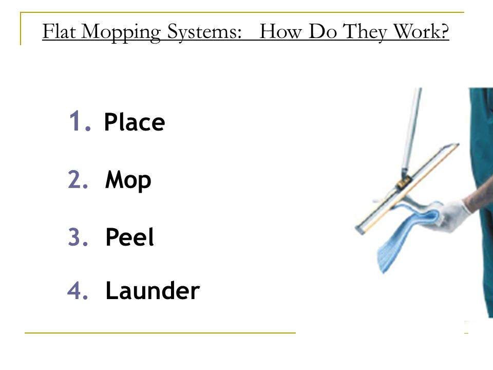 Flat Mopping Systems: How Do They Work 1. Place 2. Mop 3. Peel 4. Launder