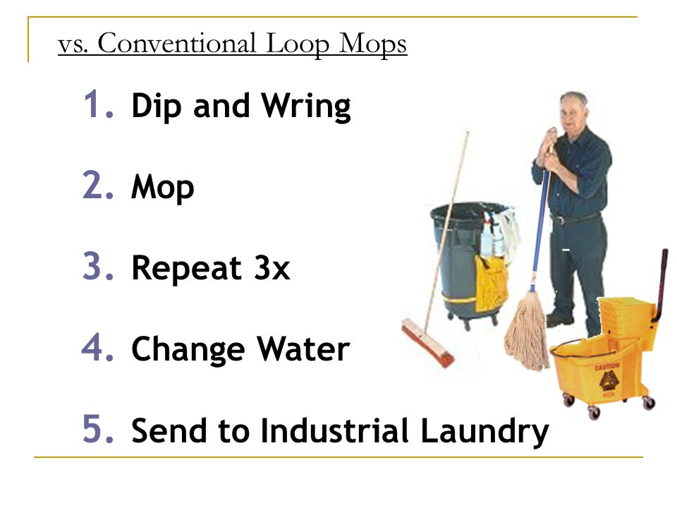 vs. Conventional Loop Mops 1. Dip and Wring 2. Mop 3.