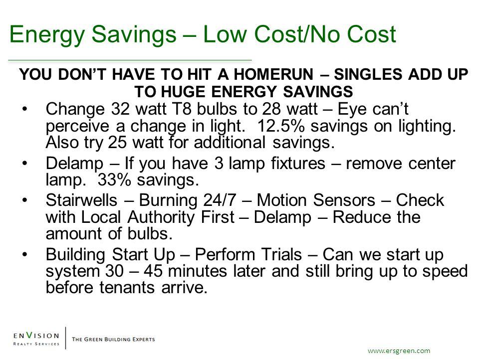 www.ersgreen.com Energy Savings – Low Cost/No Cost Change 32 watt T8 bulbs to 28 watt – Eye can't perceive a change in light. 12.5% savings on lightin