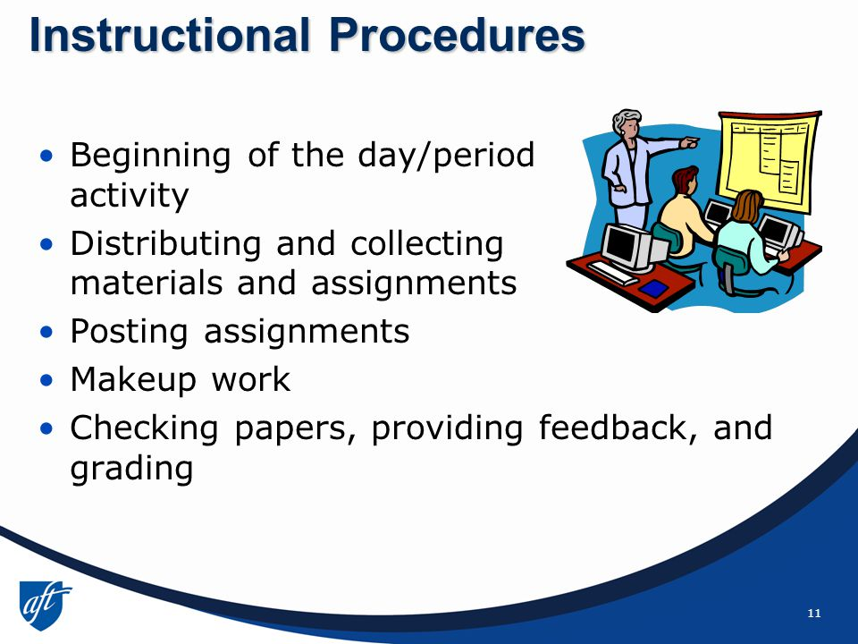 11 Beginning of the day/period activity Distributing and collecting materials and assignments Posting assignments Makeup work Checking papers, providing feedback, and grading Instructional Procedures