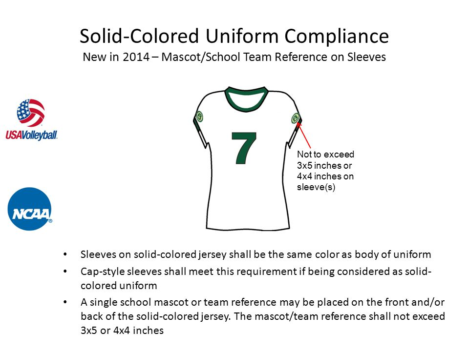 Sleeves on solid-colored jersey shall be the same color as body of uniform Cap-style sleeves shall meet this requirement if being considered as solid- colored uniform A single school mascot or team reference may be placed on the front and/or back of the solid-colored jersey.