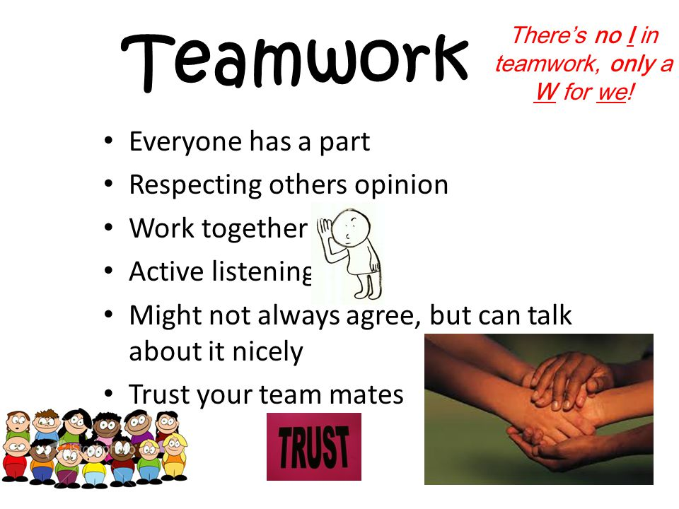 Teamwork Everyone has a part Respecting others opinion Work together Active listening Might not always agree, but can talk about it nicely Trust your team mates There's no I in teamwork, only a W for we!