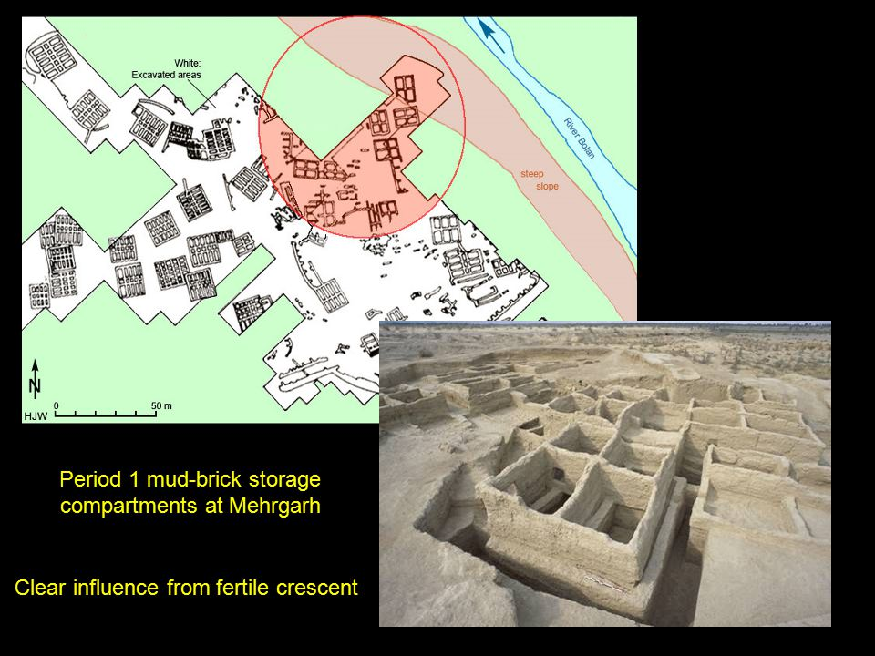Period 1 mud-brick storage compartments at Mehrgarh Clear influence from fertile crescent