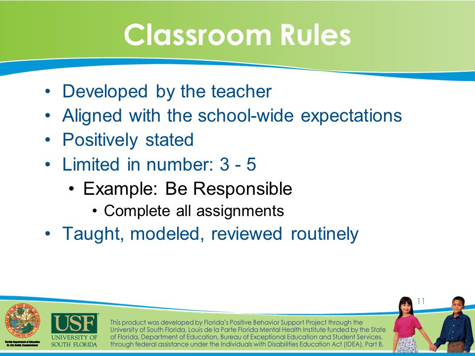 11 Classroom Rules Developed by the teacher Aligned with the school-wide expectations Positively stated Limited in number: 3 - 5 Example: Be Responsible Complete all assignments Taught, modeled, reviewed routinely