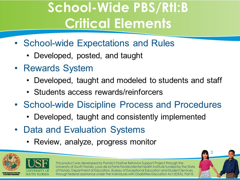3 School-Wide PBS/RtI:B Critical Elements School-wide Expectations and Rules Developed, posted, and taught Rewards System Developed, taught and modeled to students and staff Students access rewards/reinforcers School-wide Discipline Process and Procedures Developed, taught and consistently implemented Data and Evaluation Systems Review, analyze, progress monitor