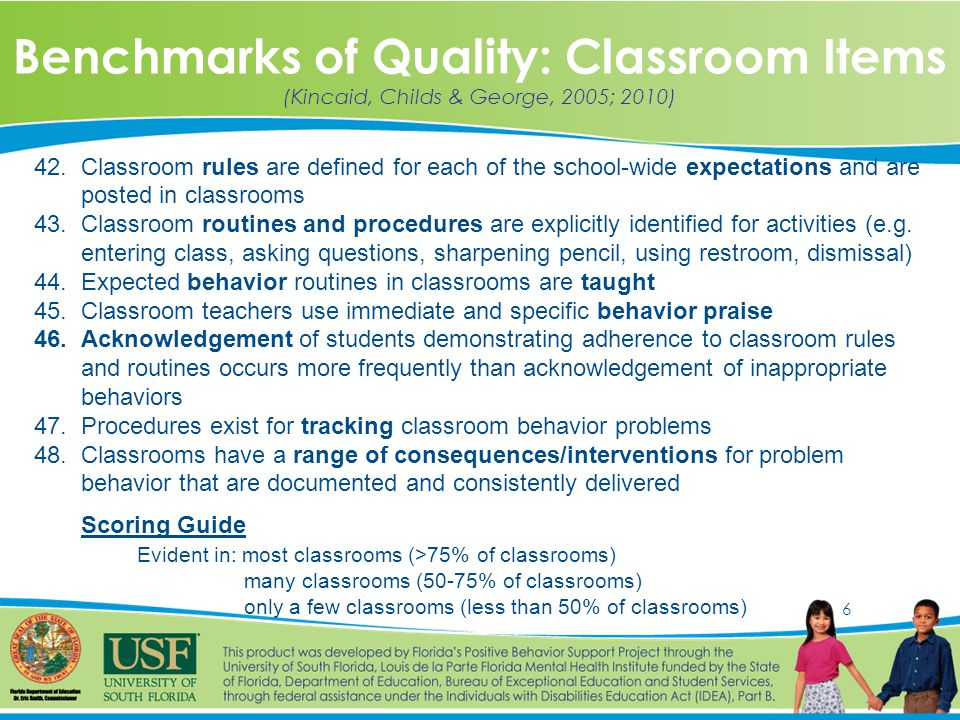 6 Benchmarks of Quality: Classroom Items (Kincaid, Childs & George, 2005; 2010) 42.