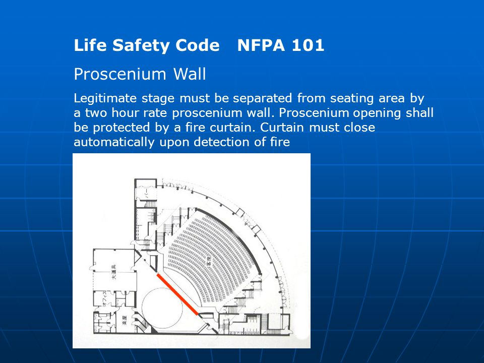Life Safety Code NFPA 101 Proscenium Wall Legitimate stage must be separated from seating area by a two hour rate proscenium wall.