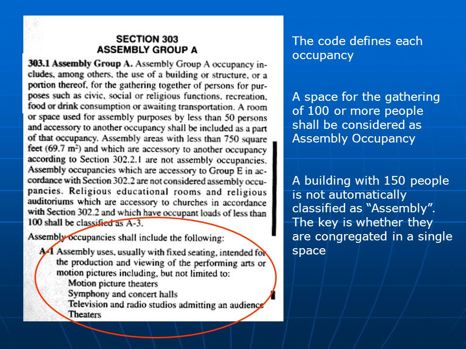 The code defines each occupancy A space for the gathering of 100 or more people shall be considered as Assembly Occupancy A building with 150 people i