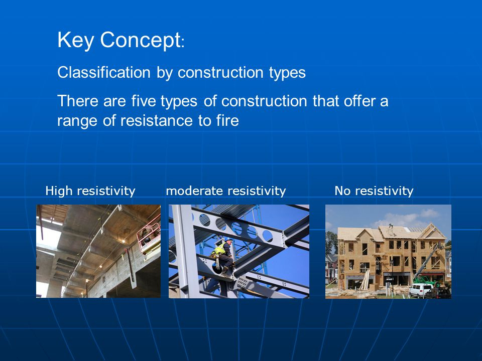 Key Concept : Classification by construction types There are five types of construction that offer a range of resistance to fire High resistivity mode
