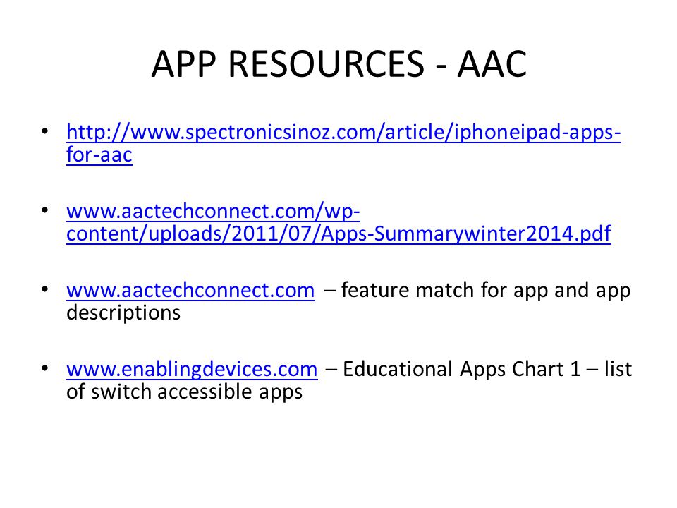 APP RESOURCES - AUTISM http://www.ocali.org/project/document_archive - A Spectrum of Apps for Students on the Autism Spectrum March 1, 2013 http://www.ocali.org/project/document_archive http://www.scribd.com/doc/47441495/Jeremy-Brown's-App- Recommendations-for-Students-with-Autism http://www.scribd.com/doc/47441495/Jeremy-Brown's-App- Recommendations-for-Students-with-Autism http://appyumyum.com/ http://www.teacherspayteachers.com/Browse/Search:consonantly%20s peaking http://www.teacherspayteachers.com/Browse/Search:consonantly%20s peaking
