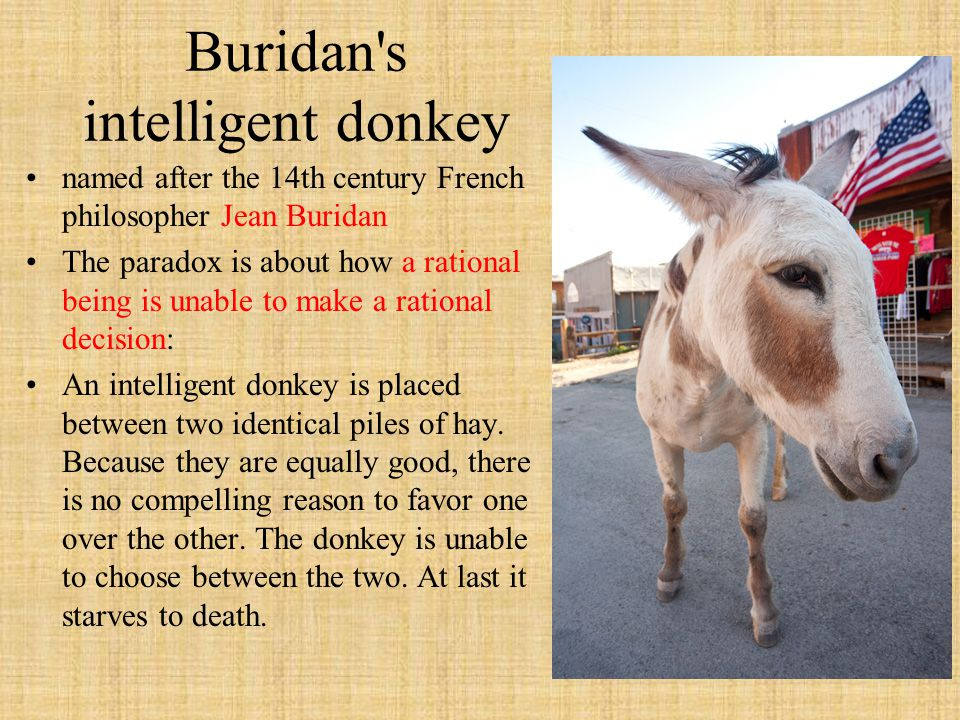 named after the 14th century French philosopher Jean Buridan The paradox is about how a rational being is unable to make a rational decision: An intelligent donkey is placed between two identical piles of hay.