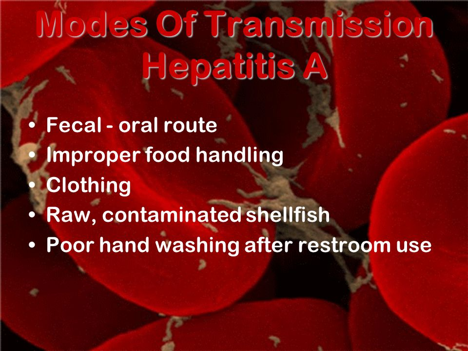 Modes Of Transmission Hepatitis A Fecal - oral route Improper food handling Clothing Raw, contaminated shellfish Poor hand washing after restroom use