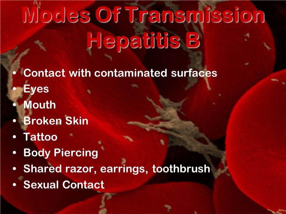 Modes Of Transmission Hepatitis B Contact with contaminated surfaces Eyes Mouth Broken Skin Tattoo Body Piercing Shared razor, earrings, toothbrush Sexual Contact