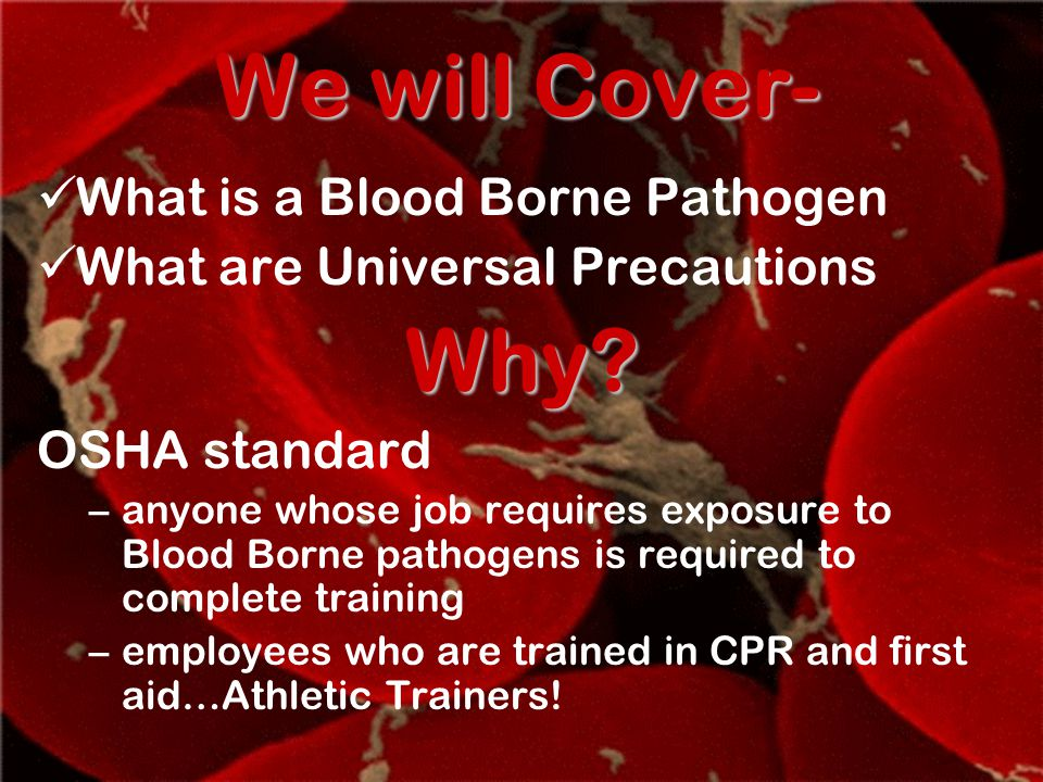 Chapter Objectives Explain what bloodborne pathogens are and how they can infect coaches and athletes.