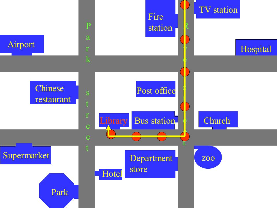 Hospital TV station Airport Fire station Post office LibraryBus stationChurch Chinese restaurant Supermarket Park Hotel Department store ParkstreetParkstreet RiverstreetRiverstreet Library zoo