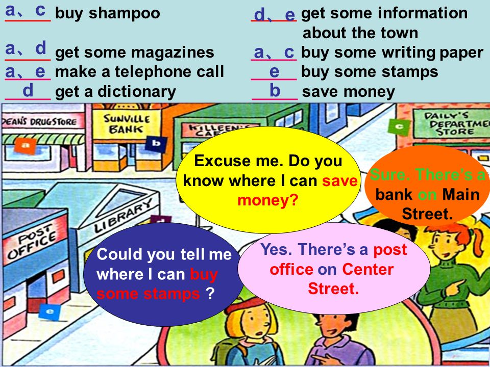 _____ buy shampoo _____ get some information about the town _____ get some magazines _____ buy some writing paper _____ make a telephone call _____ buy some stamps _____ get a dictionary _____ save money a、ca、c a、da、d a、ea、e d d、ed、e a、ca、c e b Could you tell me where I can buy some stamps .