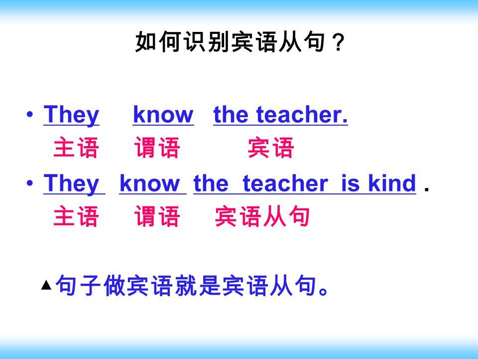 如何识别宾语从句? They know the teacher. 主语 谓语 宾语 They know the teacher is kind. 主语 谓语 宾语从句 ▲ 句子做宾语就是宾语从句。