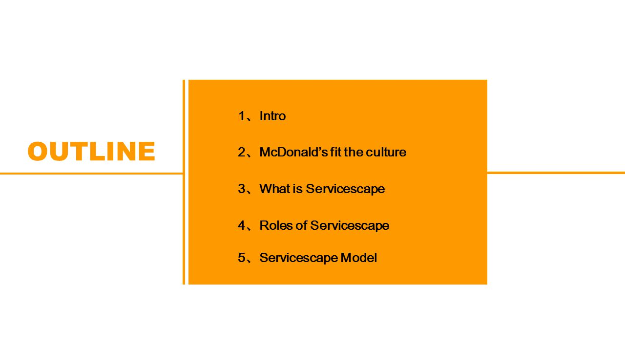 1 、 Intro 2 、 McDonald's fit the culture 3 、 What is Servicescape 4 、 Roles of Servicescape OUTLINE 5 、 Servicescape Model