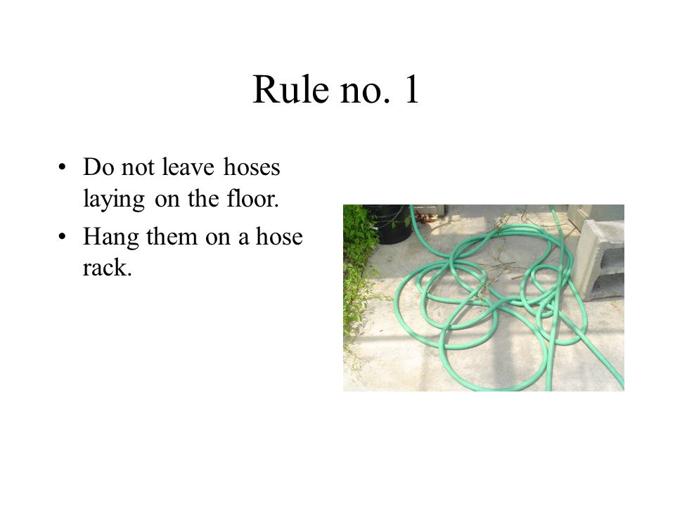 Rule no. 1 Do not leave hoses laying on the floor. Hang them on a hose rack.
