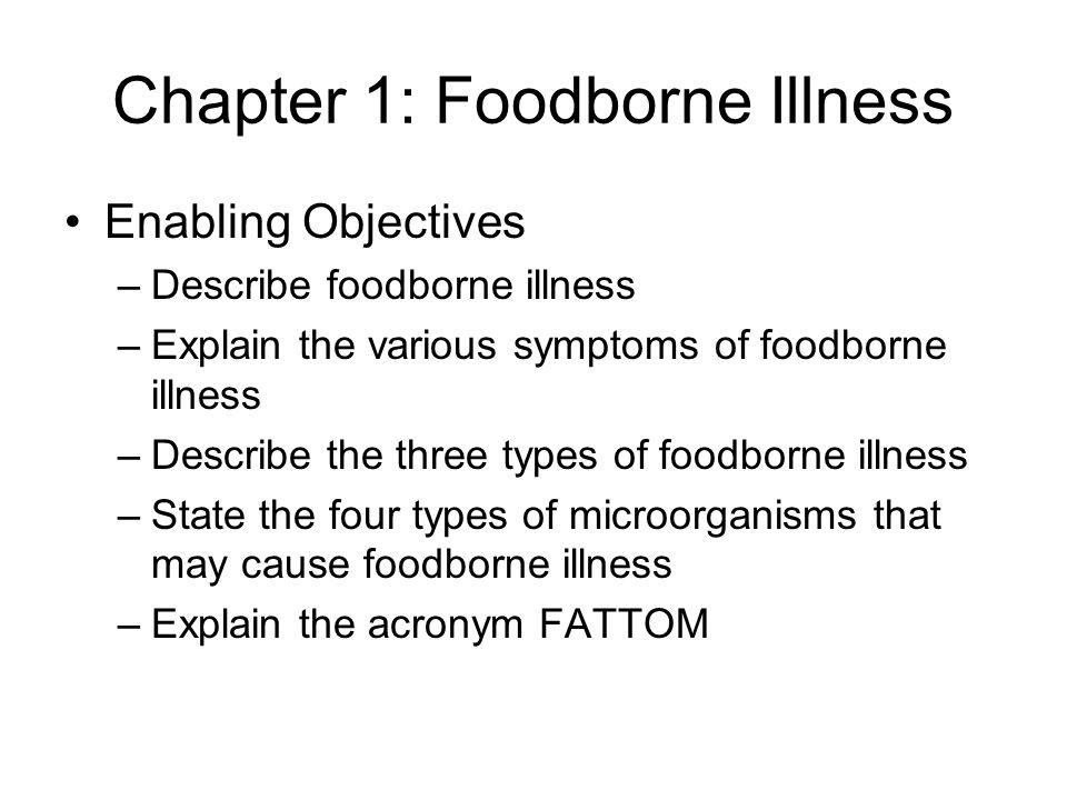 Chapter 1: Foodborne Illness Enabling Objectives –Describe foodborne illness –Explain the various symptoms of foodborne illness –Describe the three ty