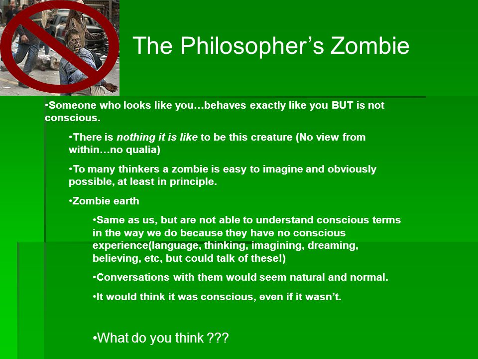 The Philosopher's Zombie Someone who looks like you…behaves exactly like you BUT is not conscious.