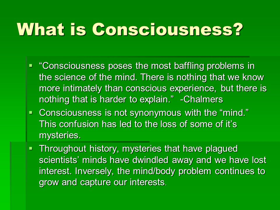 What is Consciousness.