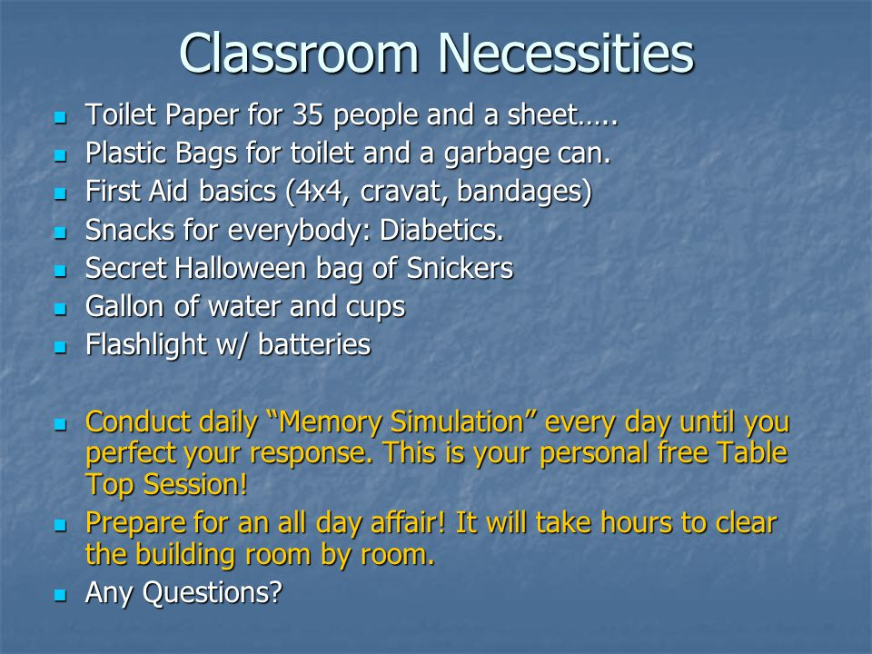 Classroom Necessities Toilet Paper for 35 people and a sheet…..