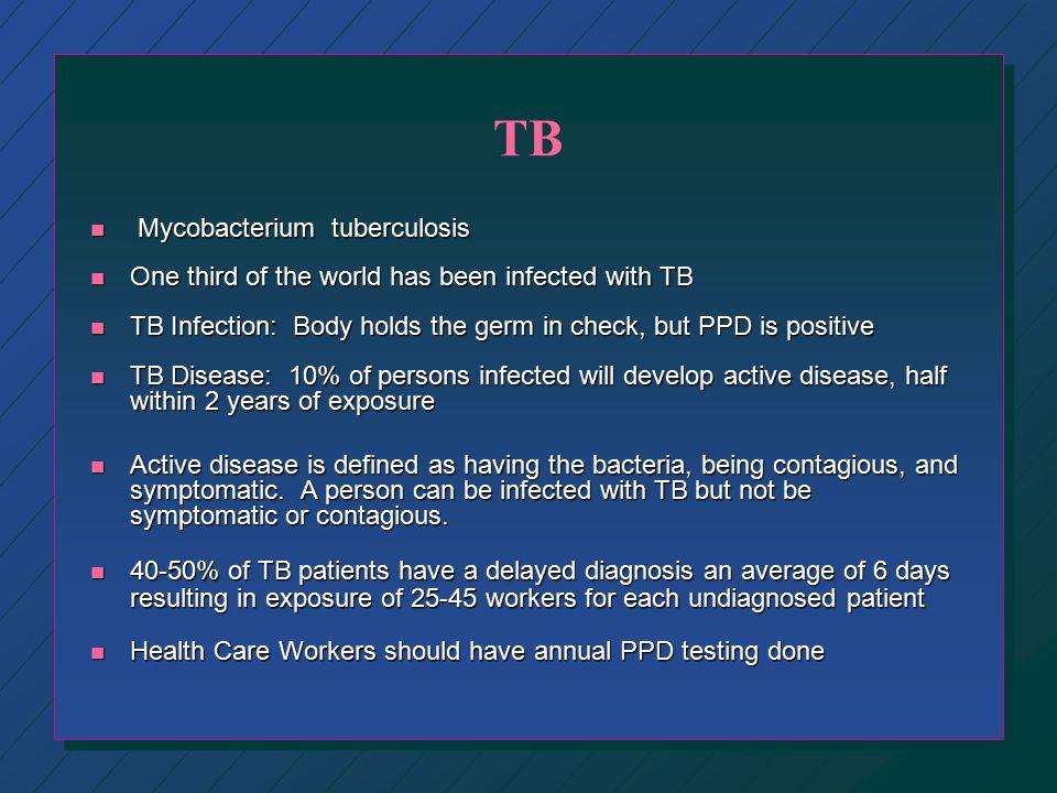 Airborne Pathogens n TB n Chicken Pox n Measles n Disseminated Herpes Zoster n Smallpox n SARS (Severe Acute Respiratory Syndrome)