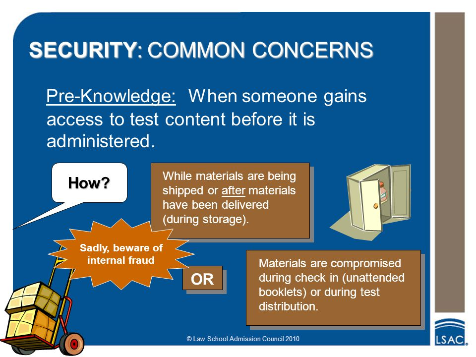 © Law School Admission Council 2010 SECURITY: COMMON CONCERNS Pre-Knowledge: When someone gains access to test content before it is administered.