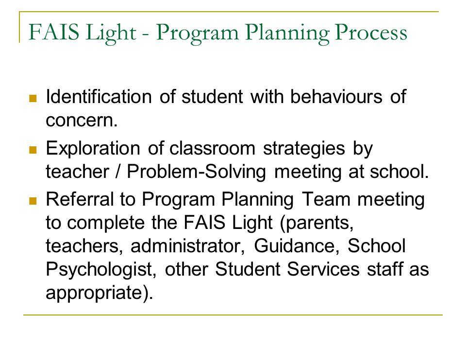 Programming Links: FAIS LIGHT Adaptations FAIS (full) IPP