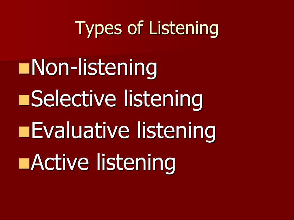 Types of Listening Non-listening Non-listening Selective listening Selective listening Evaluative listening Evaluative listening Active listening Active listening
