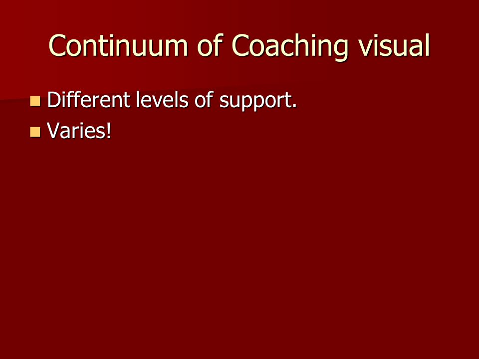 Continuum of Coaching visual Different levels of support.