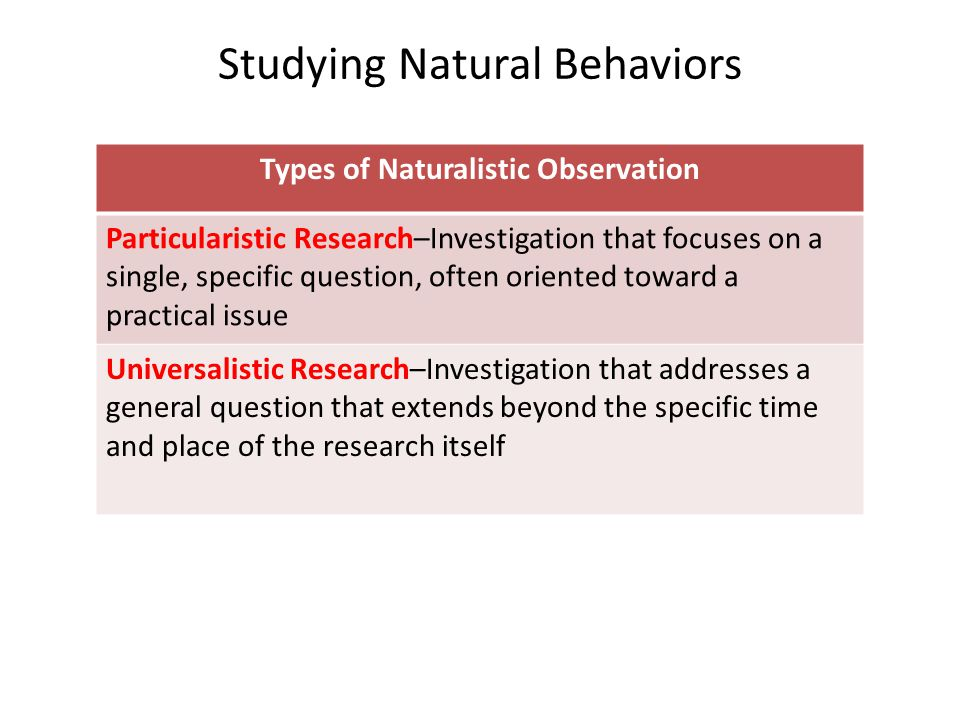 Studying Natural Behaviors Types of Naturalistic Observation Particularistic Research–Investigation that focuses on a single, specific question, often oriented toward a practical issue Universalistic Research–Investigation that addresses a general question that extends beyond the specific time and place of the research itself