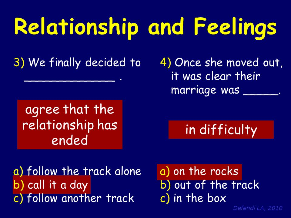 Defendi LA, 2010 Relationship and Feelings 3) We finally decided to _____________. a) follow the track alone b) call it a day c) follow another track