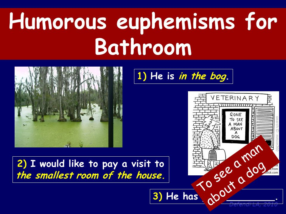 Defendi LA, 2010 Humorous euphemisms for Bathroom 1) He is in the bog.