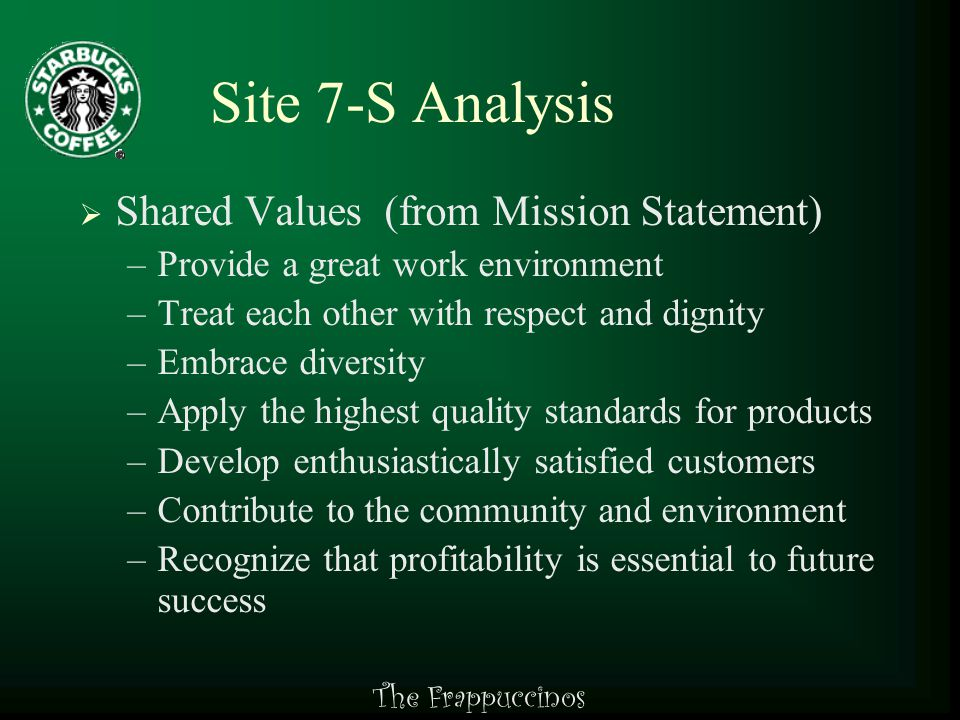 The Frappuccinos Site 7-S Analysis  Style –Basic management style is Laissez Faire –Management motivates through reviews and raises –Work duties are assigned by shift supervisors –Employees are allowed to use initiative and empowered to make decisions