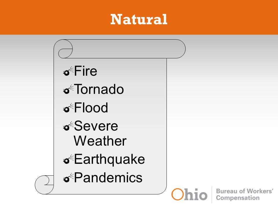 Natural Fire Tornado Flood Severe Weather Earthquake Pandemics