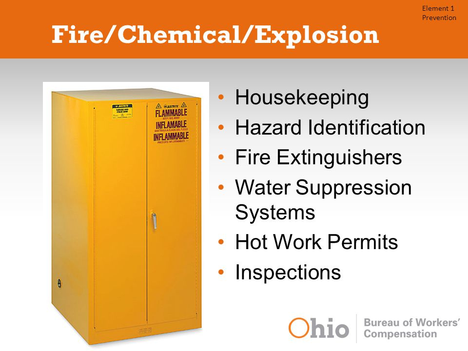 Fire/Chemical/Explosion Housekeeping Hazard Identification Fire Extinguishers Water Suppression Systems Hot Work Permits Inspections Element 1 Prevention