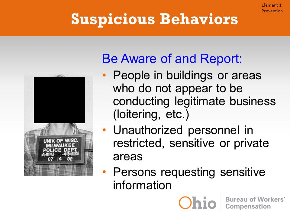 Suspicious Behaviors Be Aware of and Report: People in buildings or areas who do not appear to be conducting legitimate business (loitering, etc.) Unauthorized personnel in restricted, sensitive or private areas Persons requesting sensitive information Element 1 Prevention