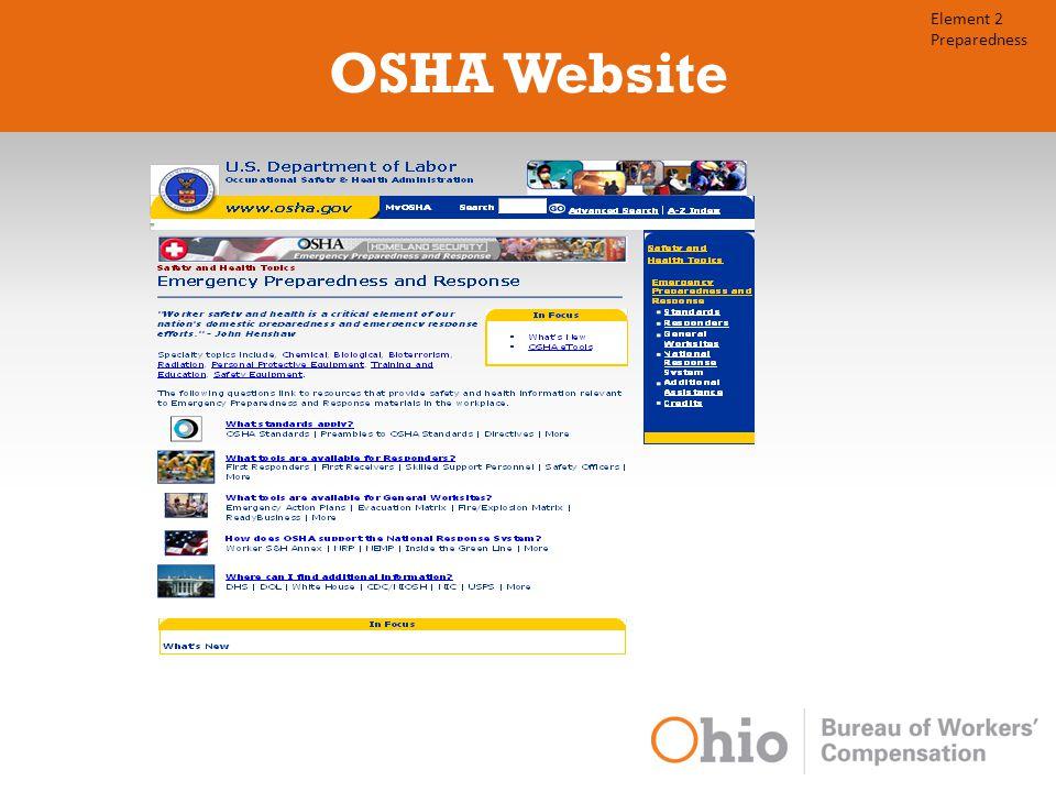 OSHA Website Element 2 Preparedness