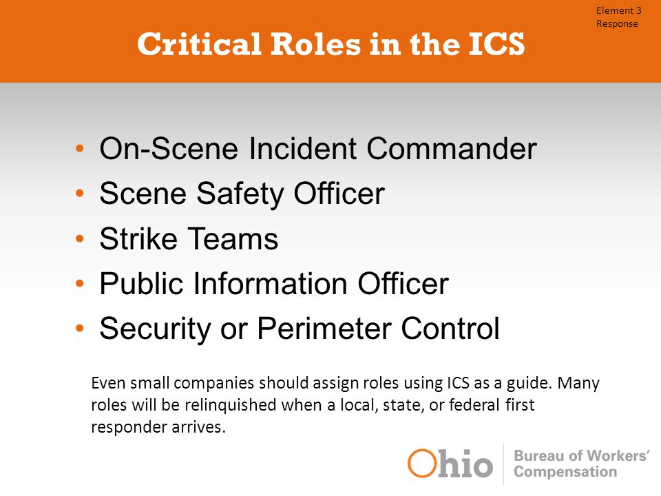 Critical Roles in the ICS On-Scene Incident Commander Scene Safety Officer Strike Teams Public Information Officer Security or Perimeter Control Even small companies should assign roles using ICS as a guide.