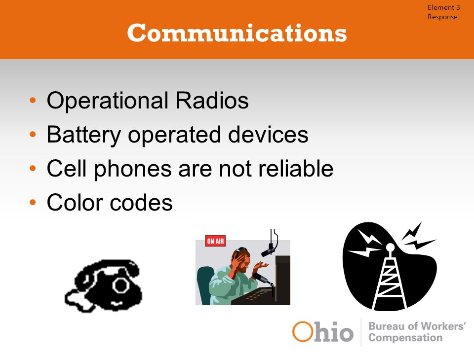 Communications Operational Radios Battery operated devices Cell phones are not reliable Color codes Element 3 Response