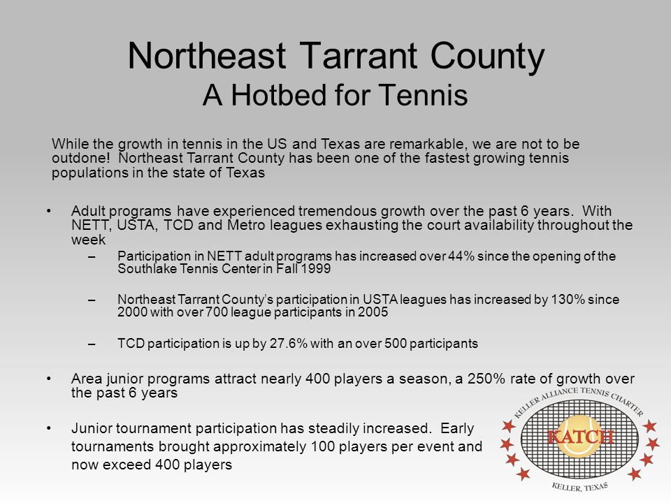 Northeast Tarrant County A Hotbed for Tennis Adult programs have experienced tremendous growth over the past 6 years.