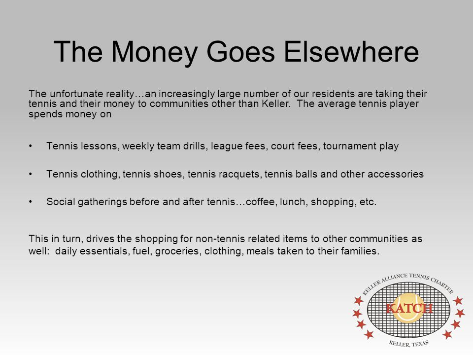 The Money Goes Elsewhere Tennis lessons, weekly team drills, league fees, court fees, tournament play Tennis clothing, tennis shoes, tennis racquets, tennis balls and other accessories Social gatherings before and after tennis…coffee, lunch, shopping, etc.