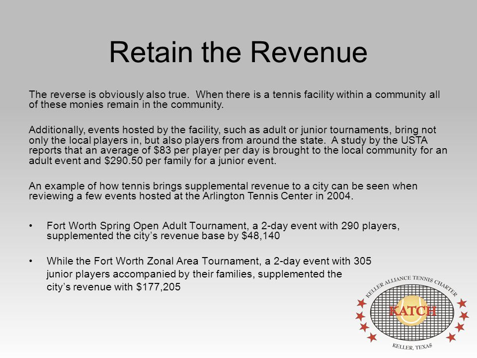Retain the Revenue Fort Worth Spring Open Adult Tournament, a 2-day event with 290 players, supplemented the city's revenue base by $48,140 While the