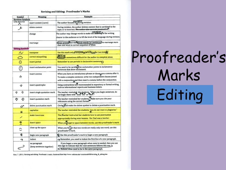 Editing Proofreader's Marks