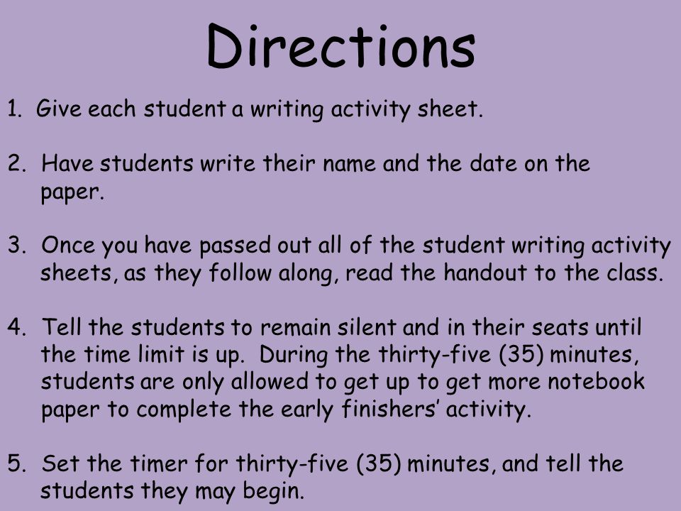 1.Give each student a writing activity sheet.